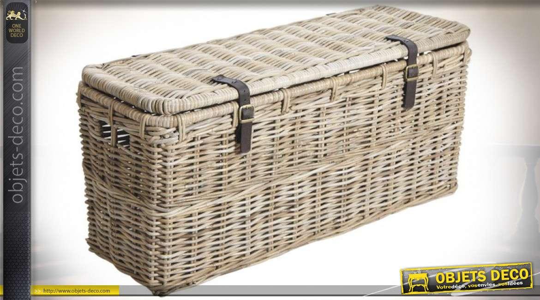 Série de deux coffres bouts-de-lits en poelet gris naturel 110 cm et 98 cm