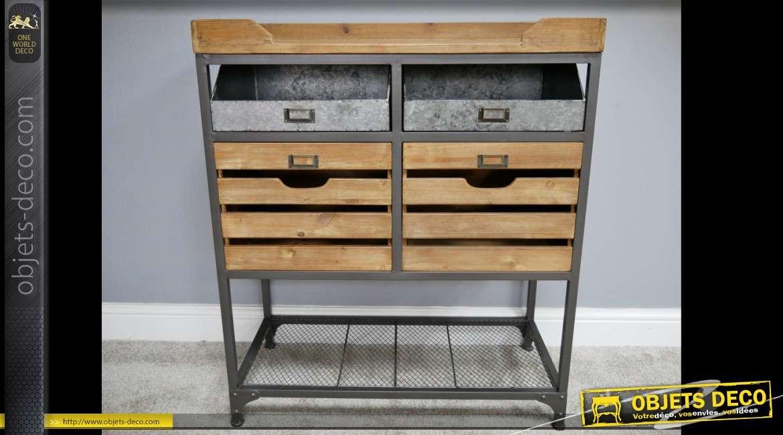 Console meuble de rangement industriel en bois et métal