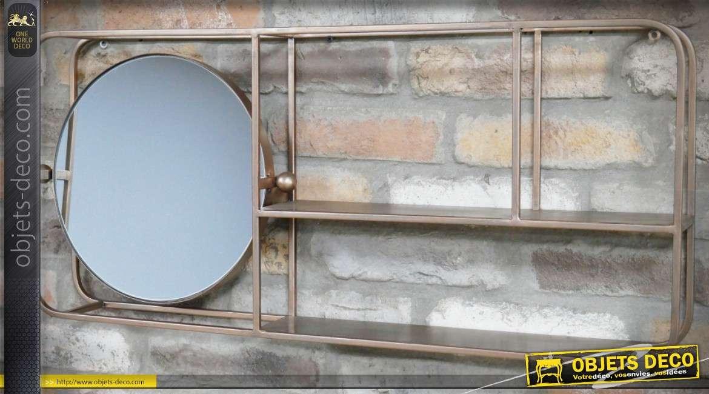 Miroir mural étagère style industriel et vintage métal Champagne 82 cm