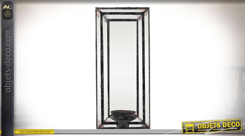 Miroir mural encadrement biseauté porte-bougies à montants noirs