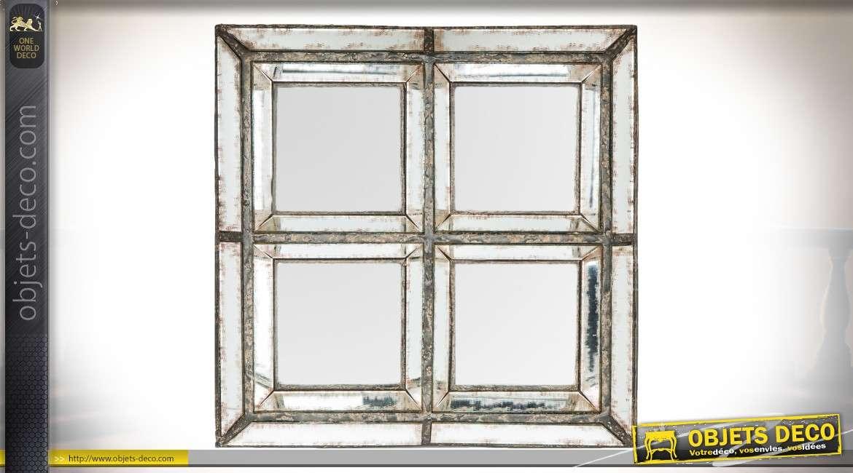 Miroir à 4 cases carrées et biseautées style brocante chic et récup' 32 x 32 cm