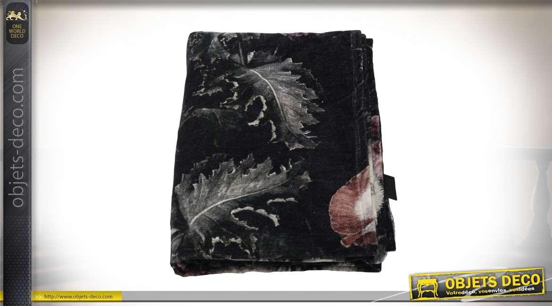 Plaid luxueux en velours noir et coton avec motifs floraux 170 x 130 cm