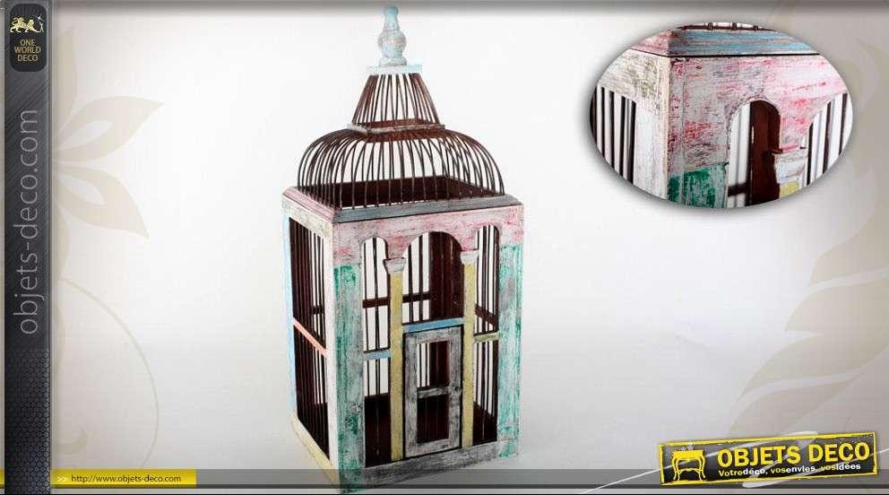 Cage oiseaux r tro bois et m tal patine multicolore vieillie for Deco cage a oiseaux
