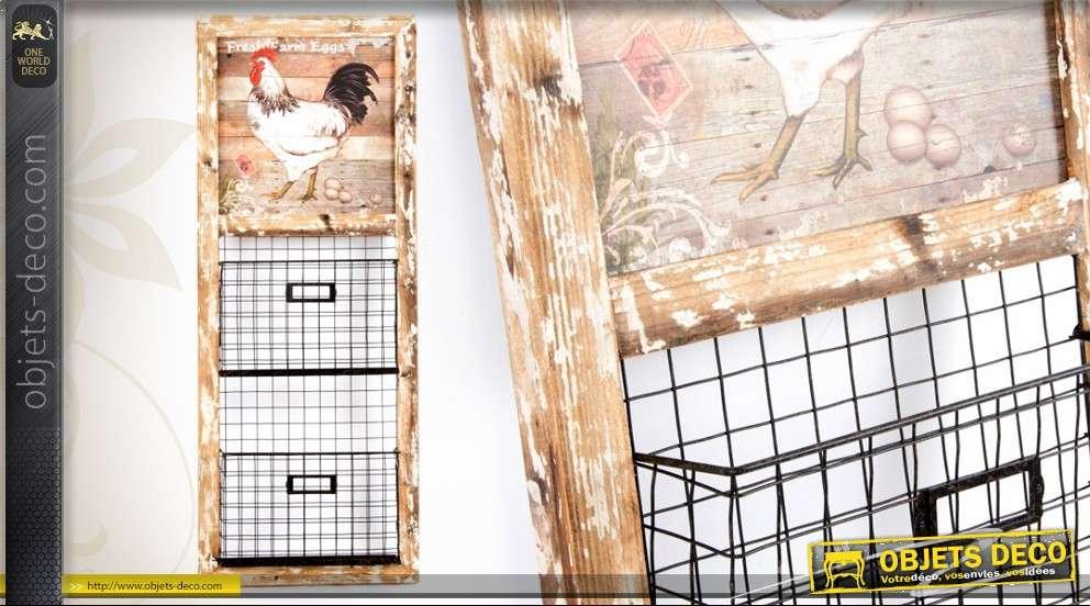 porte revues mural en bois et m tal d coration champ tre. Black Bedroom Furniture Sets. Home Design Ideas