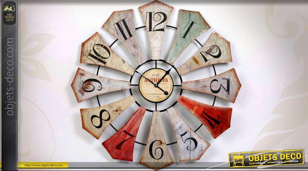 Grande horloge murale 80 cm style industriel r tro - Horloge murale style industriel ...
