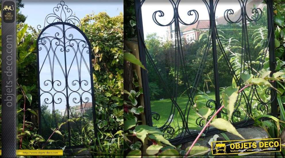 Grand miroir fen tre en fer forg patine noir antique 200 cm for Miroir fer forge noir