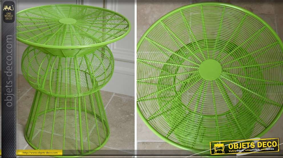 Table basse design forme ronde structure filaire vert pistache for Table structure design