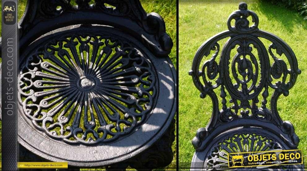 Chaise de jardin en fonte style rétro coloris noir antique