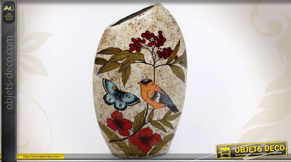 vase en c ramique motifs de fleurs oiseaux et papillons. Black Bedroom Furniture Sets. Home Design Ideas