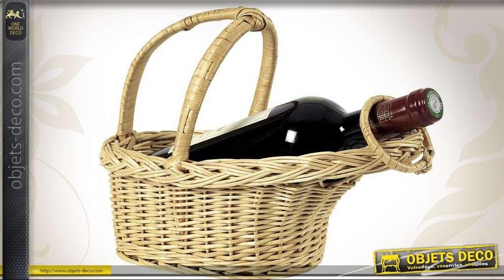 Panier verseur pour bouteille de vin en osier clair
