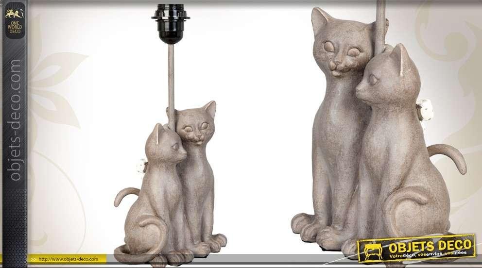 Pied De Lampe Deco Avec Statuette Couple De Chats Gris Pierre