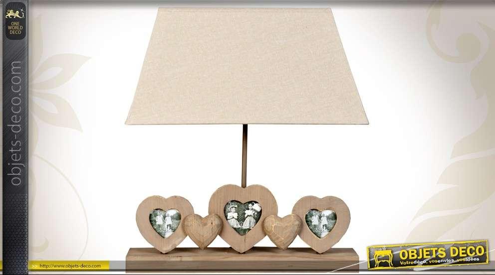 Grande lampe rectangulaire avec pied à coeurs porte-photos
