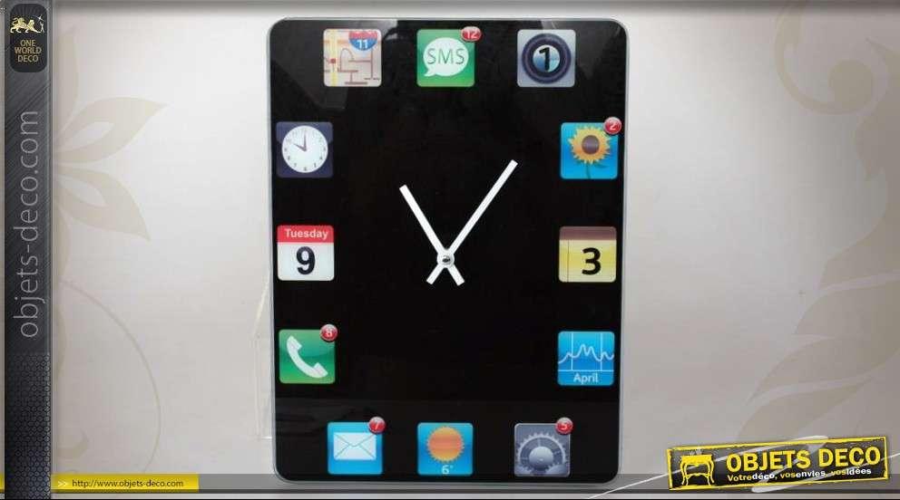 Horloge d corative murale sous verre motif iphone for Horloge murale verre