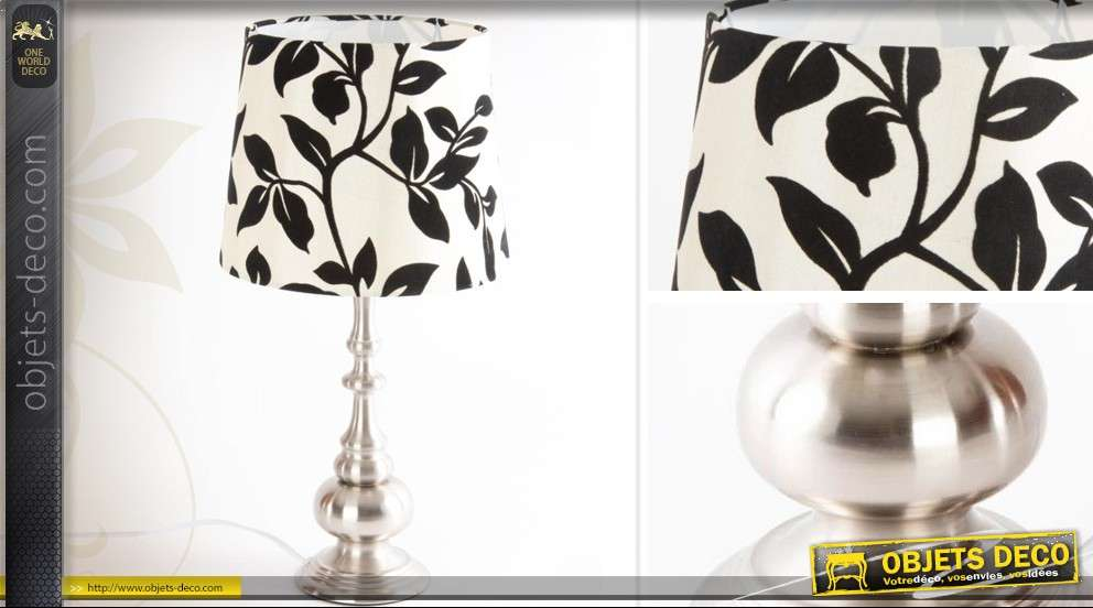 lampe d co pied m tal et abat jour floral noir et blanc. Black Bedroom Furniture Sets. Home Design Ideas