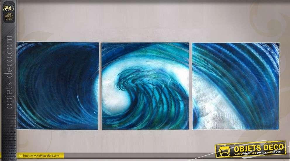 Tableau triptyque 180 x 60 cm vague bleue astraite for Objet deco couleur turquoise
