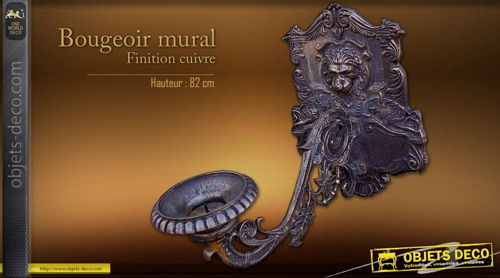 grand bougeoir mural finition bronze cuivr. Black Bedroom Furniture Sets. Home Design Ideas