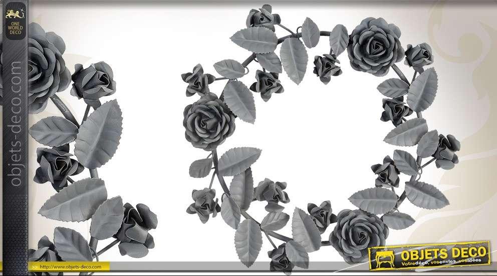 d coration murale m tal couronne de fleurs coloris gris. Black Bedroom Furniture Sets. Home Design Ideas