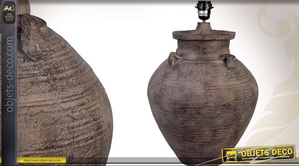 Haut Pied De Lampe En Ceramique Coloris Terre Et Ocre 51 Cm