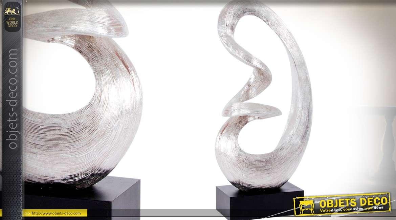 Statuette en bois et résine, sculpture abstraite 44 cm