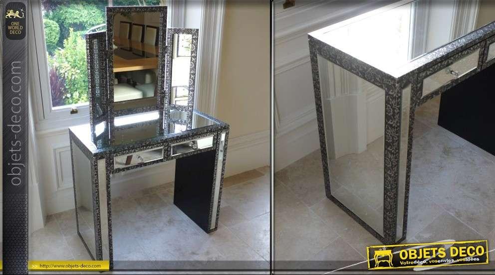 coiffeuse noir et argent emboss e avec plateau en miroir. Black Bedroom Furniture Sets. Home Design Ideas