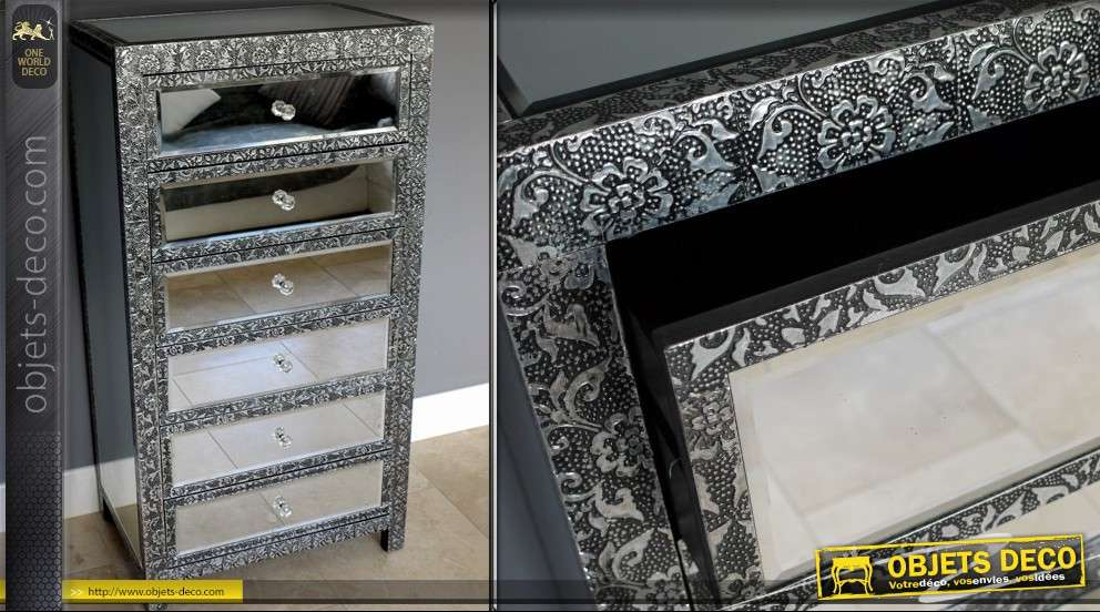 chiffonnier de style marocain 6 tiroirs avec miroirs. Black Bedroom Furniture Sets. Home Design Ideas