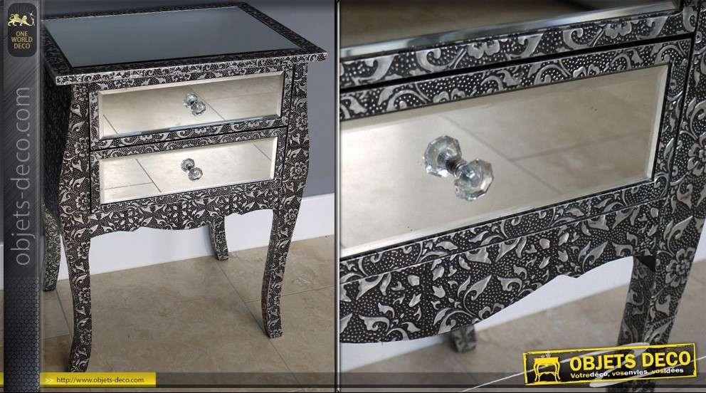 table de nuit style marocain avec miroir 2 tiroirs. Black Bedroom Furniture Sets. Home Design Ideas