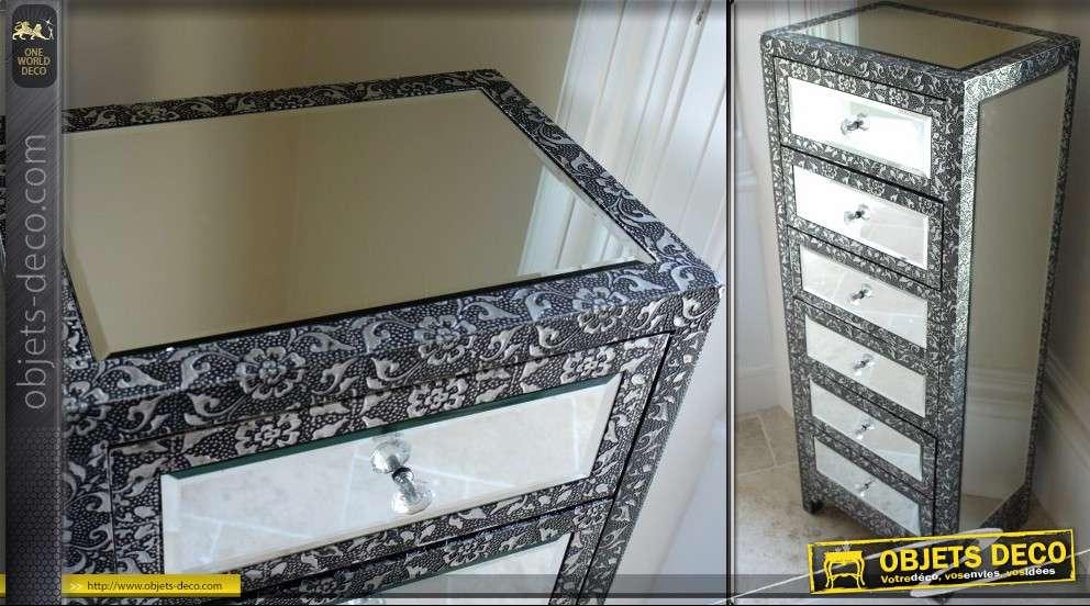 chiffonnier style marocain noir et argent habillage en miroirs. Black Bedroom Furniture Sets. Home Design Ideas