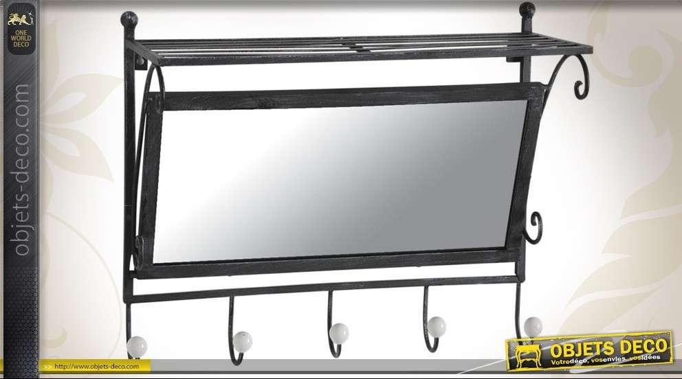 miroir de vestiaire style r tro avec tag re et pat res. Black Bedroom Furniture Sets. Home Design Ideas