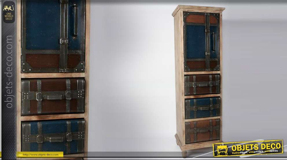 armoire colonne 3 tiroirs et 1 porte style maroquinerie. Black Bedroom Furniture Sets. Home Design Ideas