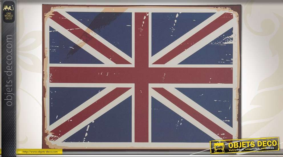 plaque d co vintage en m tal drapeau anglais union jack. Black Bedroom Furniture Sets. Home Design Ideas