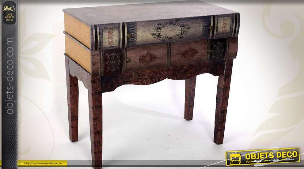 table console avec tiroir en forme de livres anciens. Black Bedroom Furniture Sets. Home Design Ideas