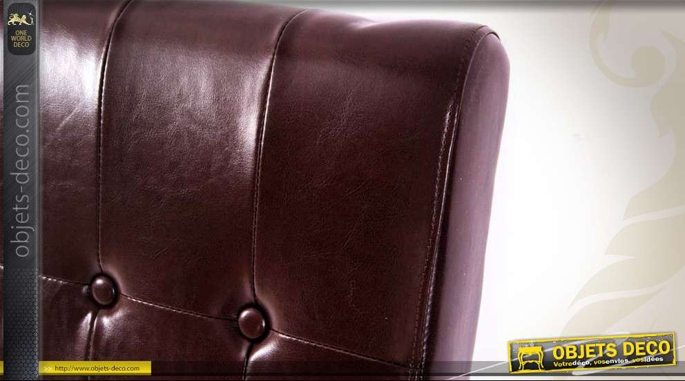 t te de lit similicuir teinte chocolat capitons en 100 x 60 cm. Black Bedroom Furniture Sets. Home Design Ideas