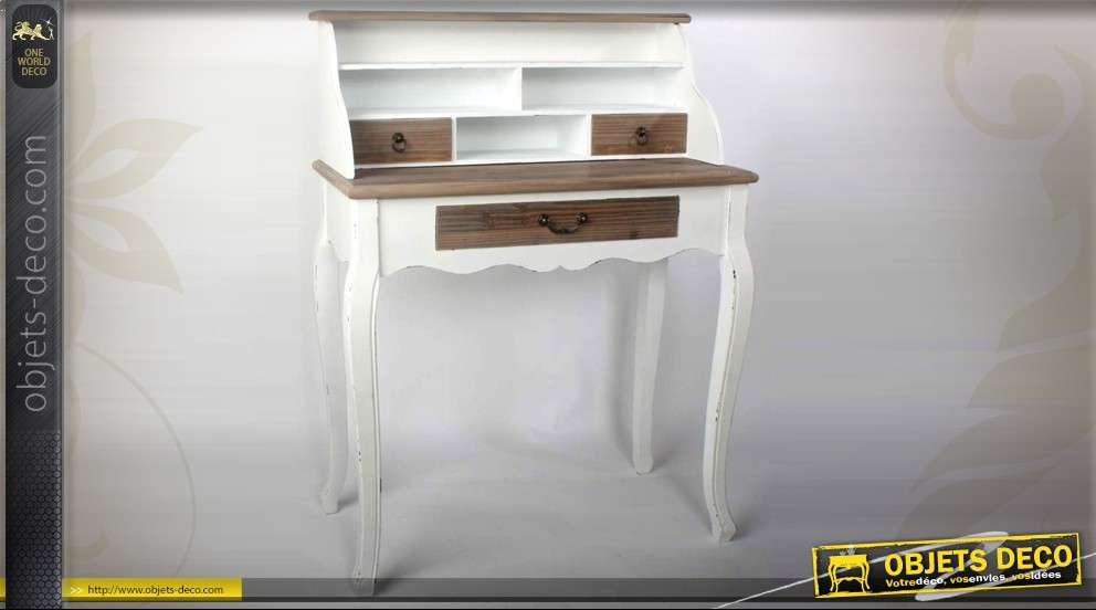 bureau secr taire patine deux tons avec trois tiroirs et. Black Bedroom Furniture Sets. Home Design Ideas