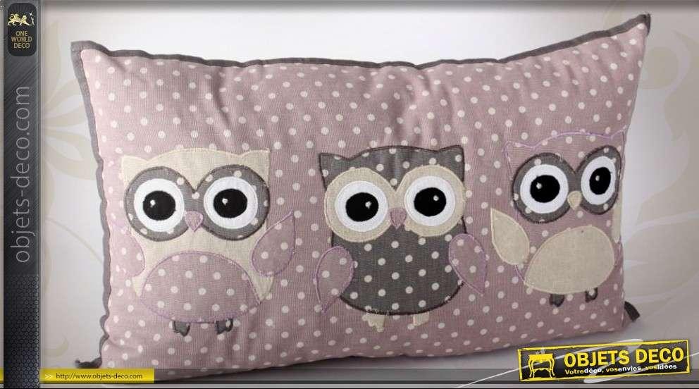coussin en lin motif chouettes stylis es sur tissu pois. Black Bedroom Furniture Sets. Home Design Ideas