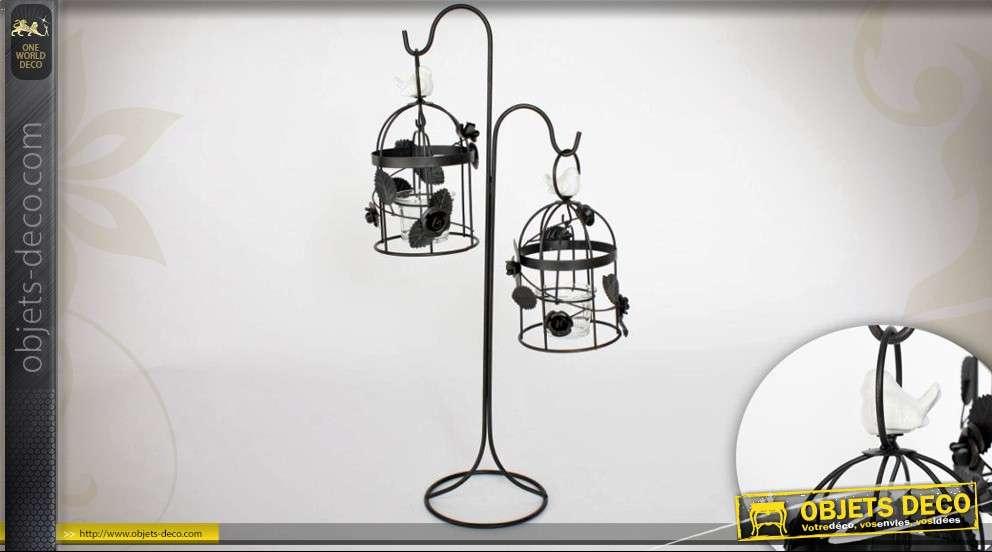 double bougeoir sur pied fa on cages oiseaux suspendues. Black Bedroom Furniture Sets. Home Design Ideas
