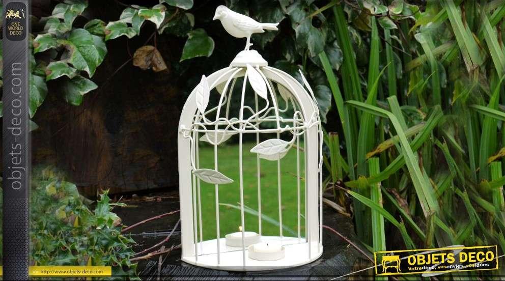 Miroir cage à oiseaux avec petite étagère coloris crème