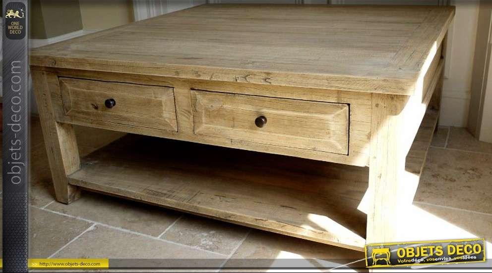 grande table basse carr e de style rustique en bois massif. Black Bedroom Furniture Sets. Home Design Ideas