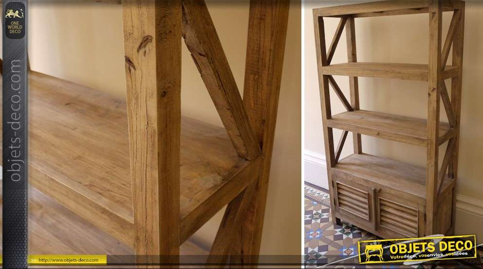Biblioth que tage de style rustique en bois massif for Etage en bois