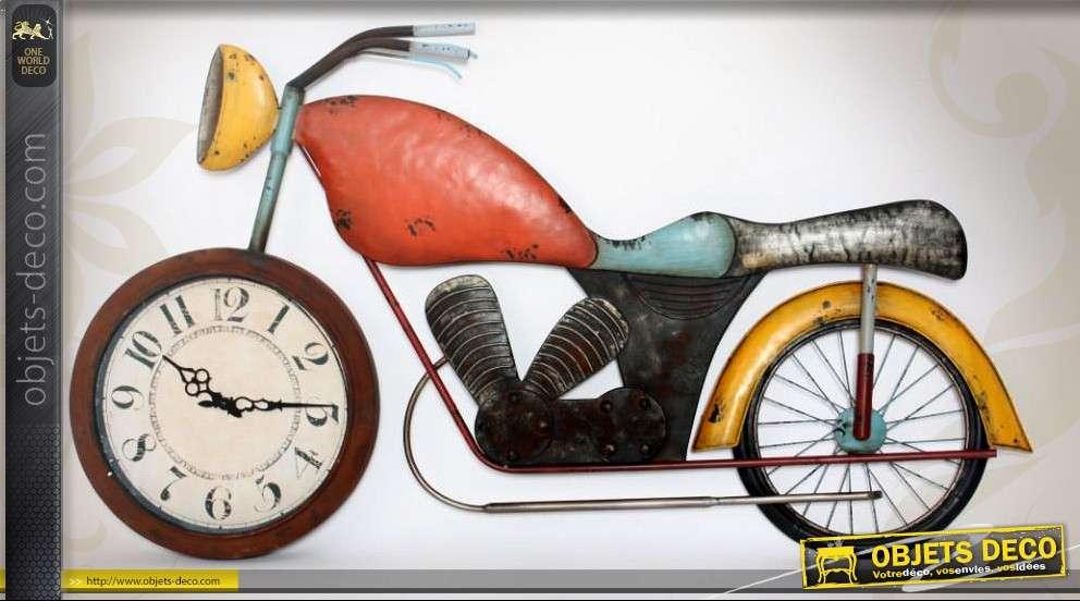 horloge d coration murale en m tal moto ancienne. Black Bedroom Furniture Sets. Home Design Ideas
