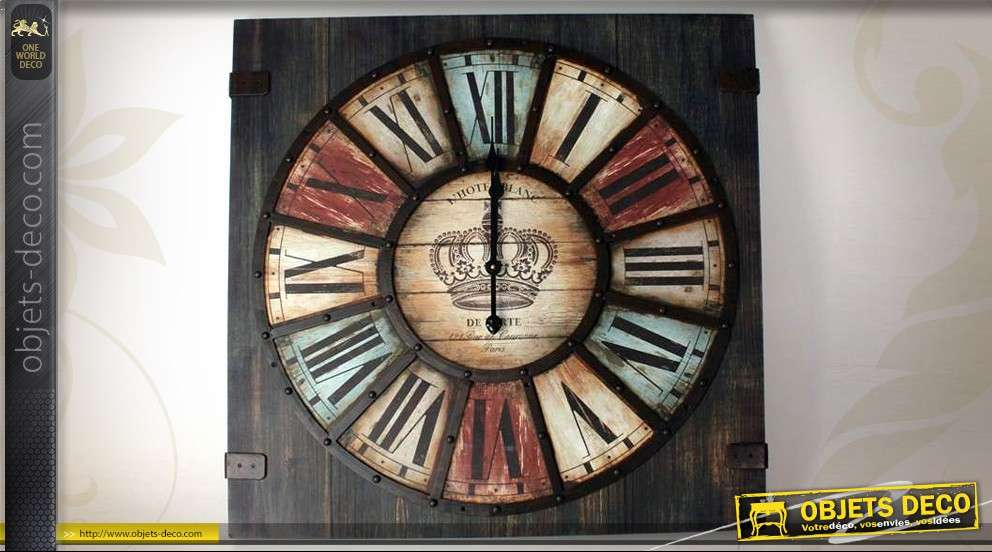horloge vintage bois et m tal 80 x 80 cm. Black Bedroom Furniture Sets. Home Design Ideas