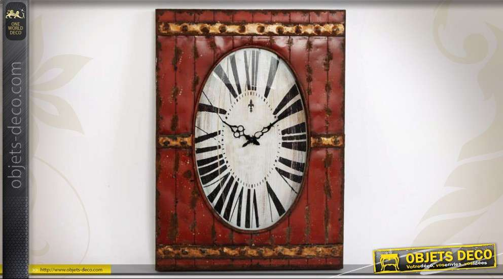 horloge murale en m tal style r tro porte ancienne stylis e. Black Bedroom Furniture Sets. Home Design Ideas