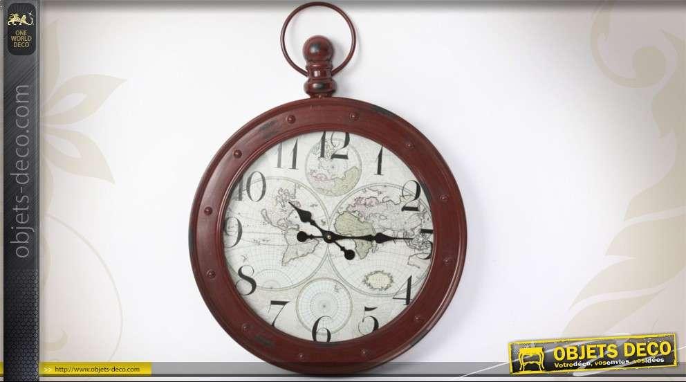 horloge de style ancien coloris rouge brique avec mappemonde. Black Bedroom Furniture Sets. Home Design Ideas