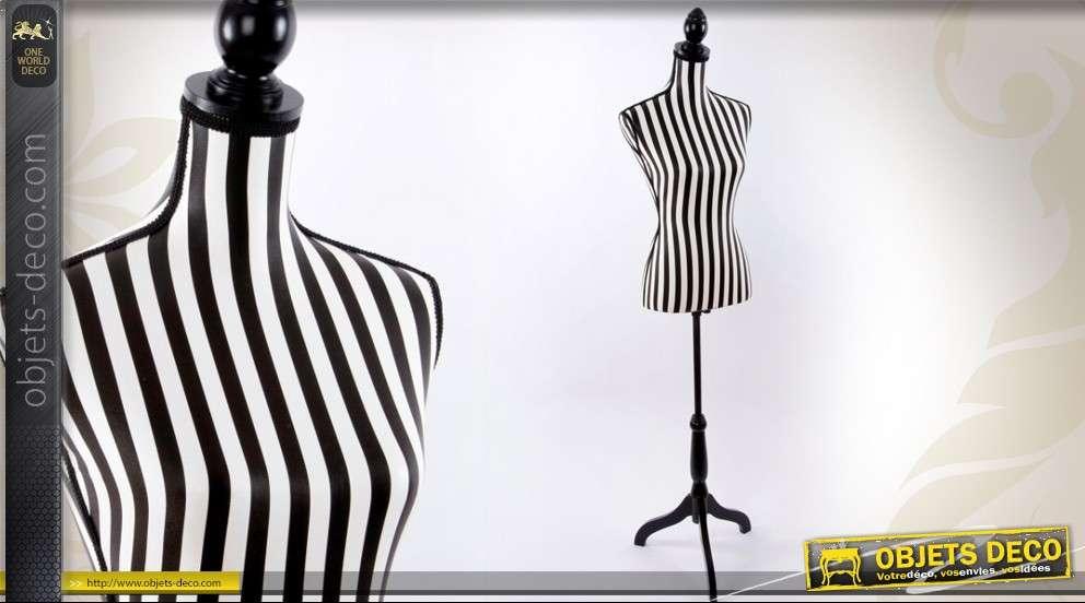 Mannequin de couture rayures noires et blanches 168 cm for Mannequin de couture deco