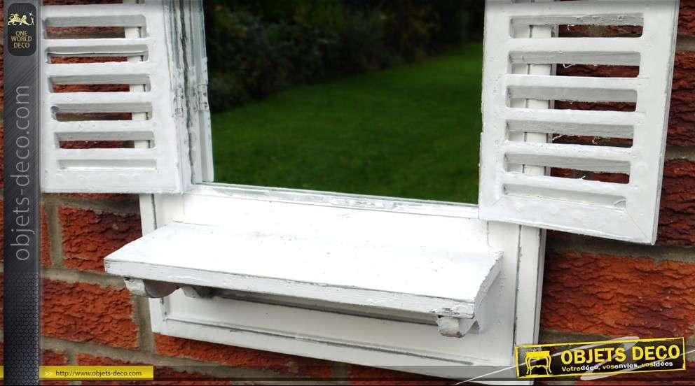 Miroir fenêtre avec volets à persiennes coloris blanc antique