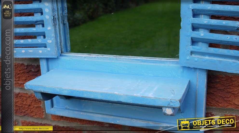Miroir décoratif en forme de fenêtre en bois 70 cm bleu clair
