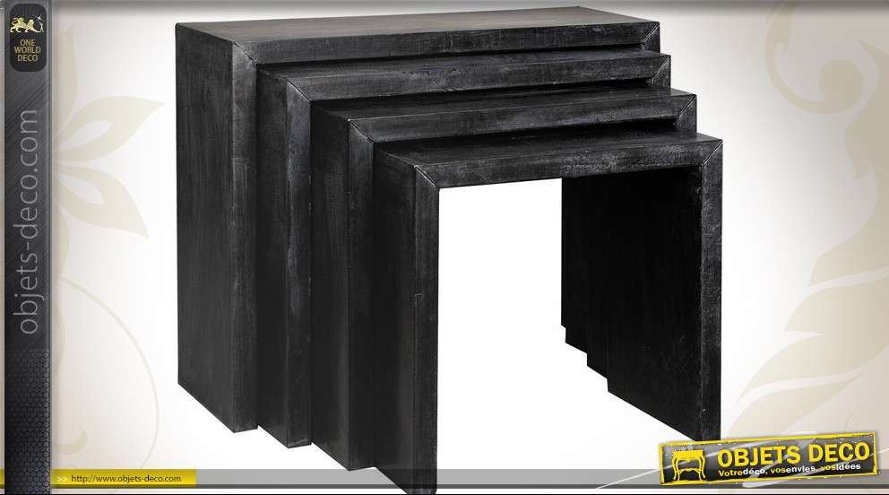 Série de 4 tables gigognes en zinc coloris gris anthracite