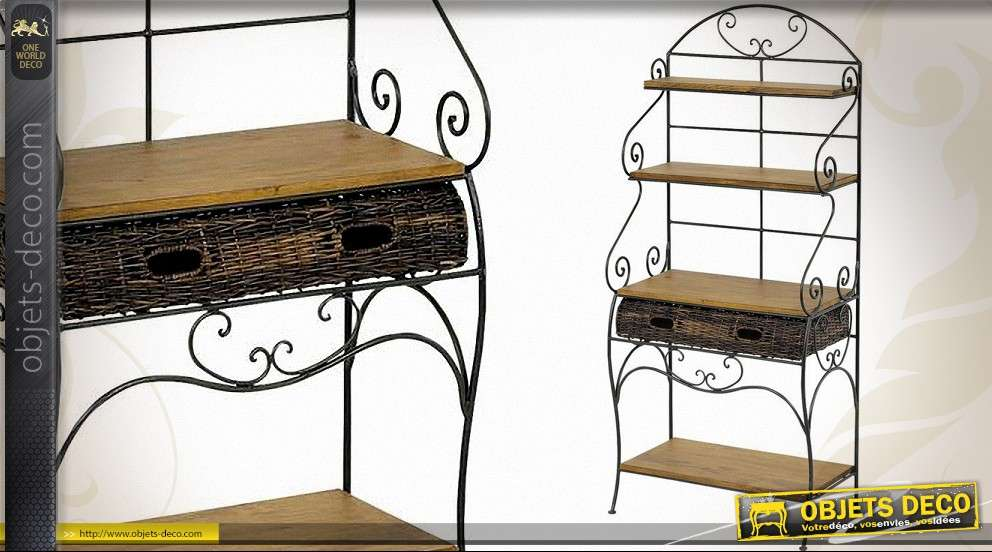 Étagère en fer forgé avec plateau pin et tiroir en rotin