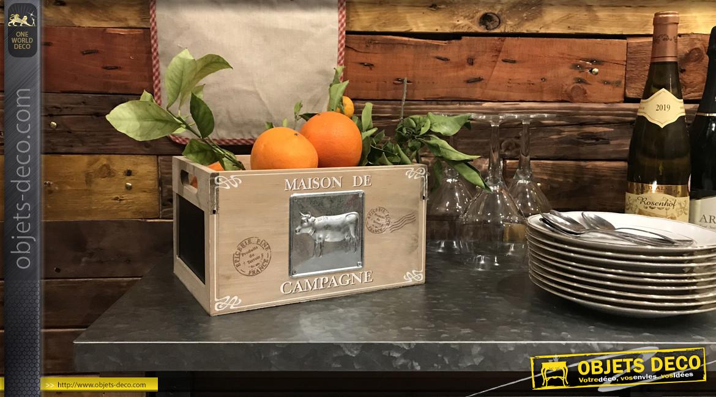 Caisse de rangement bois et métal ambiance Maison de Campagne, 25cm
