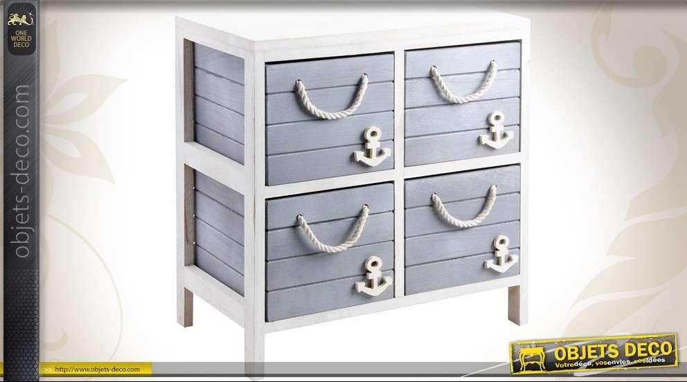 commode 4 tiroirs bois et corde coloris bleu et blanc. Black Bedroom Furniture Sets. Home Design Ideas