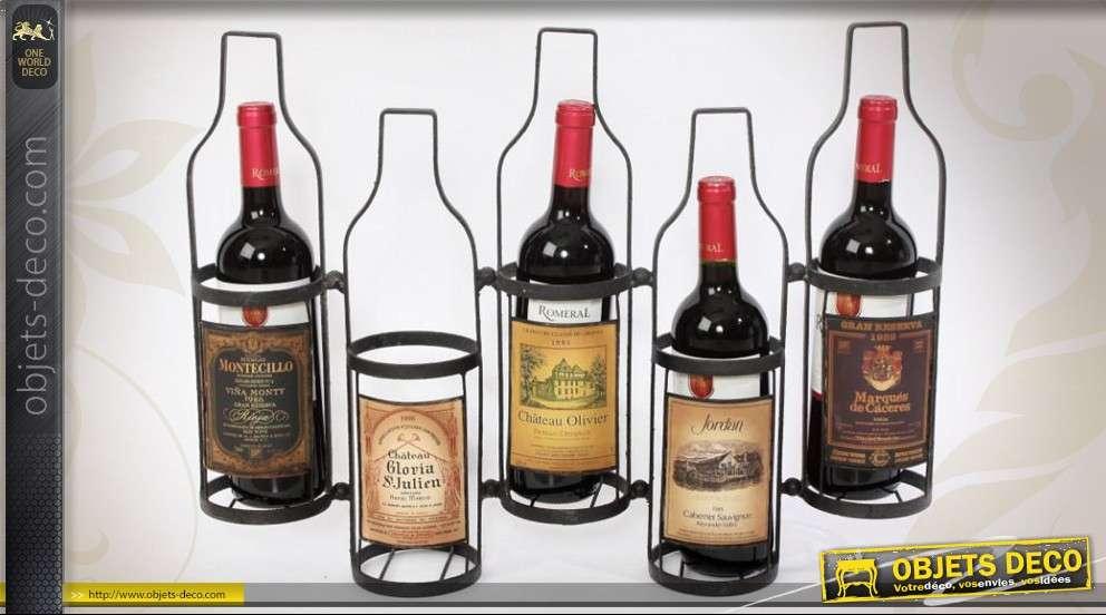 support d coratif en m tal pour 5 bouteilles de vin. Black Bedroom Furniture Sets. Home Design Ideas